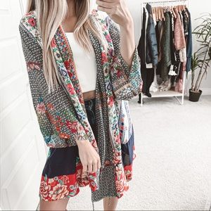 Johnny Was Rosmishka Silk Mix Media Floral Kimono